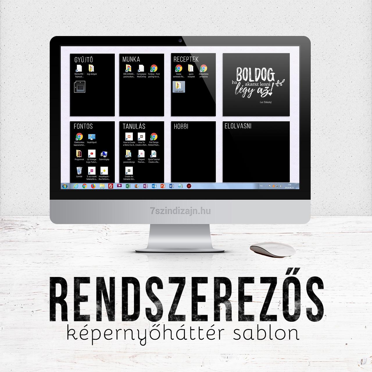 Rendszerezős képernyőháttér sablon – freebie