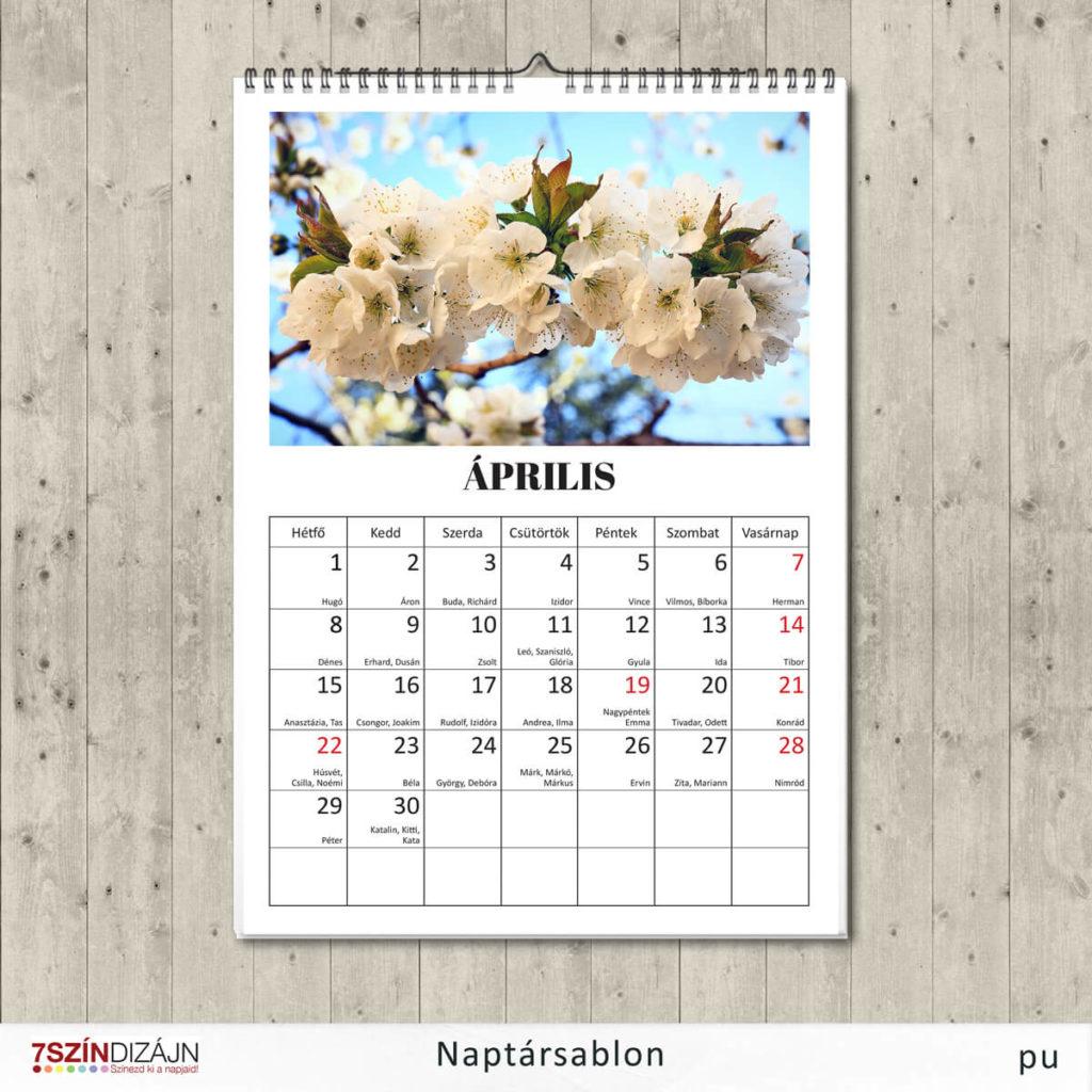 2019. április naptár template